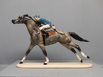 Rare Test Color Hagen Renaker DW Dapple Gray Racehorse with Jockey