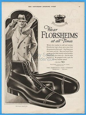 1926 Florsheim Shoe Company Chicago IL 1920s Men's Fashion Style Print Ad