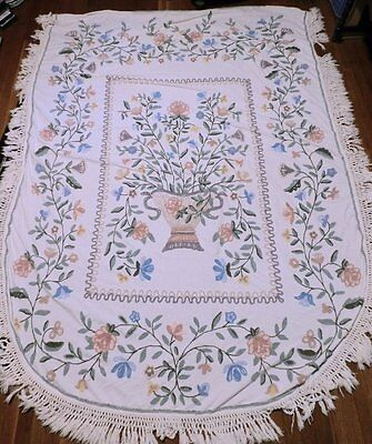 Vintage Cabin Craft Colorful Basket Flowers All Cotton Chenille Bedspread Twin