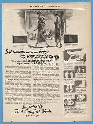 1923 Dr Scholl's Foot troubles need no longer sap your nervous energy print ad