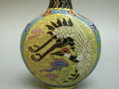 Chinese Cloisonne Carved Crane Pattern Snuff Bottle
