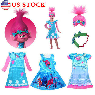 Child Trolls Poppy Troll Doll New Fancy Dress Costume Kids Girl Outfits 4-11 T