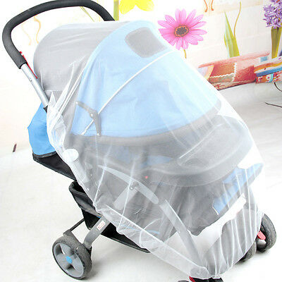 Baby Buggy Pram Mosquito Cover Net Pushchair Stroller Fly Insect Protector White