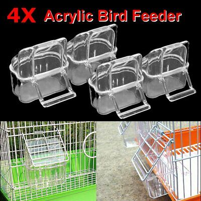 2Pcs Plastic Budgie Canary Bird Seed Food Feeder Clear Bowl with Perch Cage