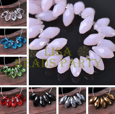 12x6mm Teardrop Faceted Crystal Glass Loose Spacer Beads Pendants (86 Colors)