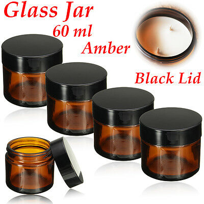 60ml AMBER GLASS JAR BOTTLES Containers Cream For DIY Cosmetics Candles Spices