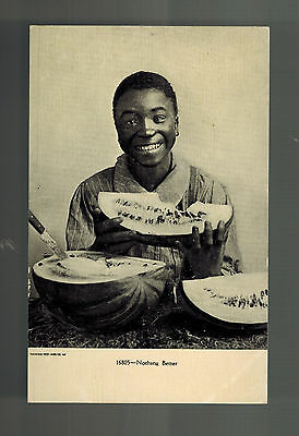 Mint Color Picture Postcard Black Americana Man eating Watermelon Nothing Better