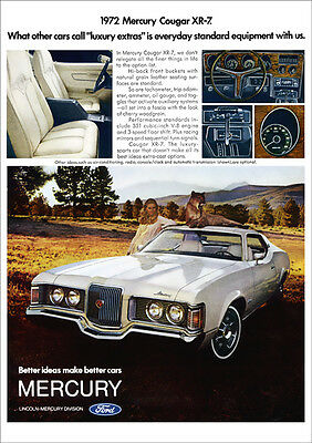 Mercury Cougar Xr-7 Xr7 1972 Retro A3 Poster Print From Advert 1972