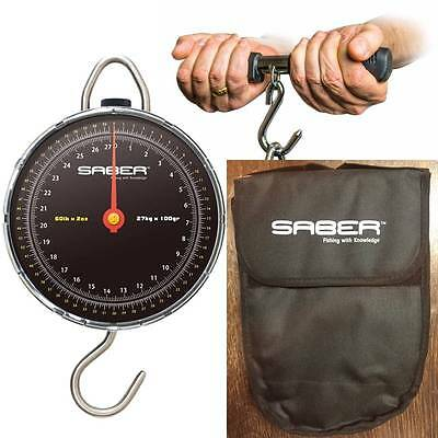 Saber Fishing Dial Scales 60Lb Carp Fishing Pike Sea + Weigh Bar + Scale Pouch