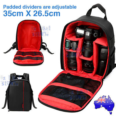 Waterproof  SLR DSLR Camera Soft Backpack Case Bag Rucksack For Canon Nikon Sony
