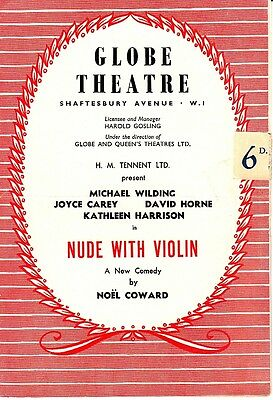 Globe Theatre UK England Nude With A Violin Noel Coward Playbill Old Ads