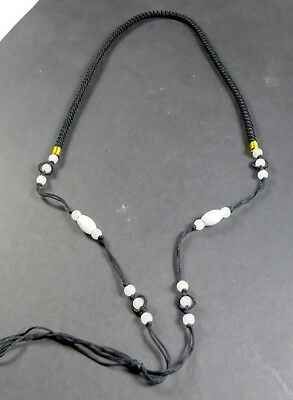 Braided BLACK cord with real jade necklace for beads, pendants 28 inches long.