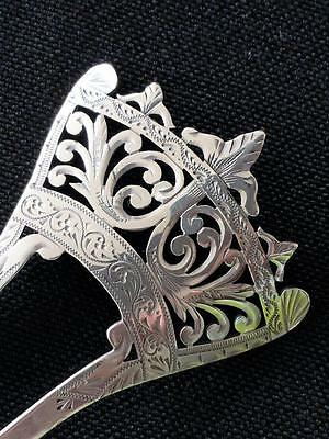 VICTORIAN Late 1800s Hair Comb Sterling Silver Cutwork Etched Great Condition