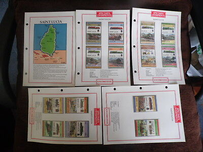 St Lucia ~ MNH Specimen Stamp Pages x 4 ~ (Trains) ~ Lot 10