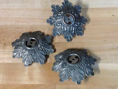 3 Antique Vintage Nickel Plated Brass Light Mount Lamp Parts