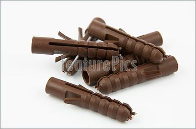 MAXI FIX - 100X 8mm Brown Wall Plugs Raw Rawl Fixing Plug Rawlplugs