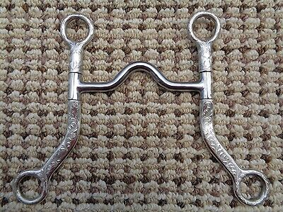 "FES Hand Engraved Silver Mounted Western Show Horse Bit ~ 5"" Mouth"