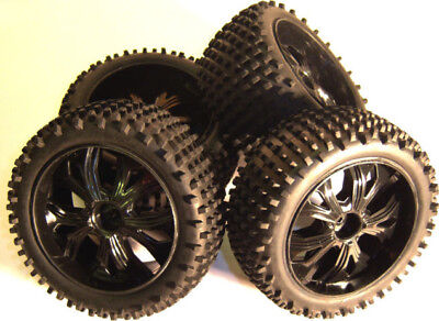 BS937-001/2 1/10 Scale RC Buggy Off Road Wheels and Tyres x 4 Black