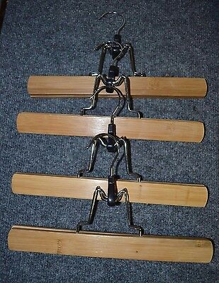 "Lot of 4 Bamboo Wooden Wood Trouser Pant Skirt Clamp Hangers 11"" ADTL"