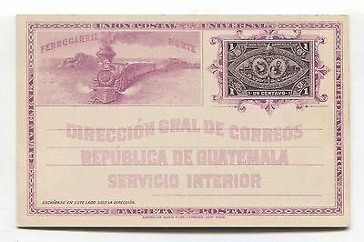 Guatemala 1c postal stationery - Ferrrocarril Norte, North Railway - unused