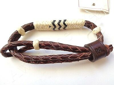 New Ralph Lauren RRL Dark Brown Braided Leather Cuff Bracelet Wristband