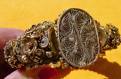 Opulent Antique Islamic Ottoman Turkish Gilt Silver Filigree Bracelet, 1800s