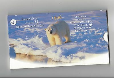 **1996**Canada's New Uncirculated $2 Coin & Banknote Set