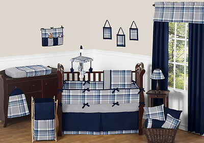 Sweet Jojo Country Navy Blue and Grey Plaid Baby Bedding Crib Set Newborn Boys