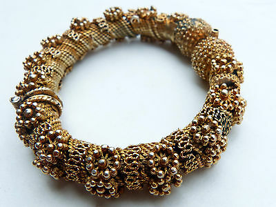 Opulent Antique Ottoman Islamic Arabic Gilt Silver Filigree Bracelet, 1800s