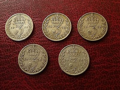 George V Threepences  1911 - 1915  Complete Date Run