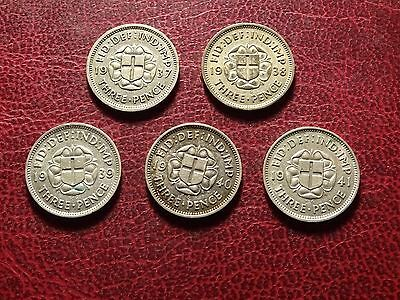 George V1 Threepences  1937 - 1941  Complete Date Run