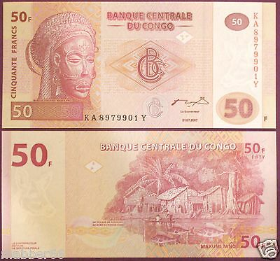 UNC 2007 Congo 50 Francs Banknote World Money African Tribal Mask & Village