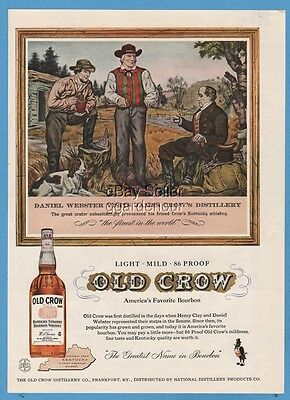1958 Old Crow Bourbon Whiskey Daniel Webster Frankfort Kentucky KY Distillery Ad
