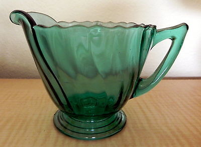 Jeannette Depression Glass Ultramarine Green Petal Swirl Cream Pitcher Creamer