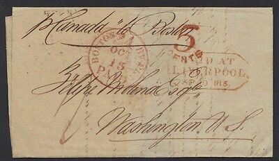 """U.k. G.b. U.s. 1853 5¢ Paid At Liverpool & """"boston Paid"""" All In Red By Steamship"""