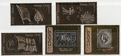 UK 1980's SIX 23 KARAT GOLD STAMPS THREE £6 EACH STAFFA SCOTLAND & TWO RARITIES