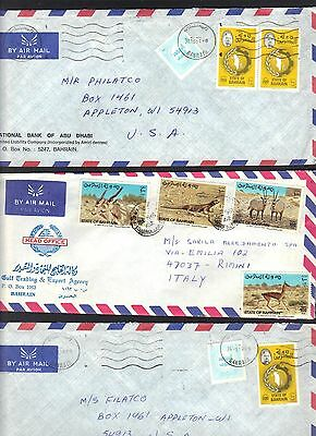 Bahrain 1980's Three Air Mail Covers To Us And Italy