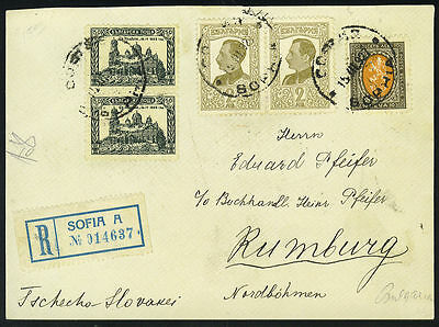 Bulgaria 1927 Registered Cover Front Sofia To Rumburg