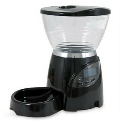 Petmate Le Bistro Electronic Portion Control Automatic Pet Feeder 5 lbs Med Blac