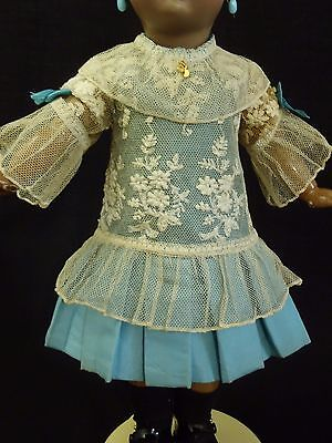 "Wonderful Antique French Blue Silk & Cotton Lace BEBE Doll Dress 14"" Doll size 4"