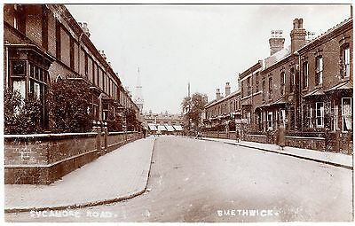 Early R.p. Postcard Cobblestoned Footpath-Shops & Church-Sycamore Road-Smethwick