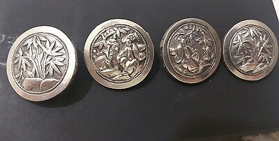 Vintage Sterling Silver Japanese Buttons X4