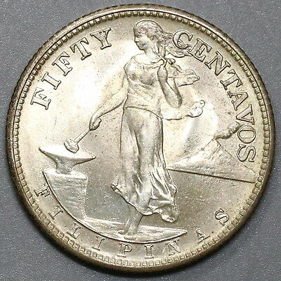 1944-S PHILIPPINES UNC Silver 50 Centavos WWII Coin (17040718R)