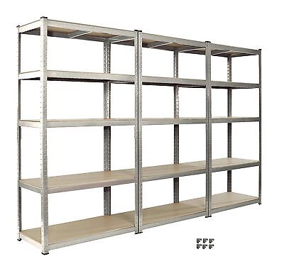 Racking 3 Bay  Shelving Unit Heavy Duty 5 Tier Shelf Steel