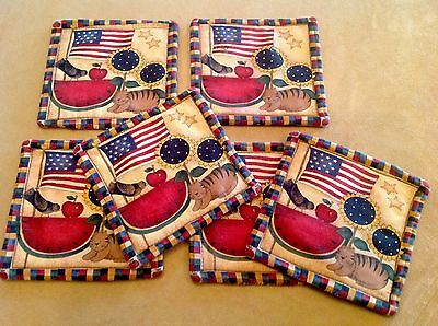 Six Cotton Quilt Coasters, Country Print, Flag, Cat, Bird, Watermelon, Star ❤️