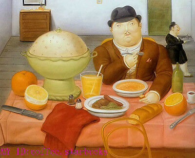"Art Repro oil painting:""Fernando Botero Portrait at canvas"" 24x36 Inch #051"
