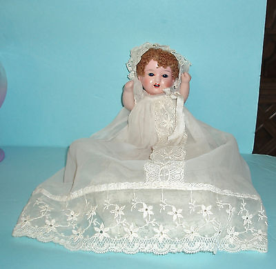 """Antique Baby Doll 8"""" Painted Bisque Head, Blue Glass Sleep Eyes Caracul Wig comp"""