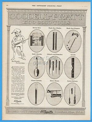 1918 Goodell Pratt Greenfield MA Drill Level Saw Screw Driver Chisel Tool Ad