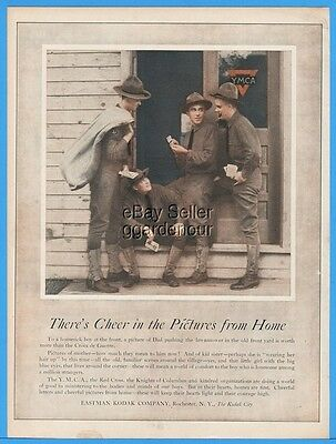 1918 Eastman Kodak YMCA Red Cross Knights Of Columbus WWI Soldiers Print Ad