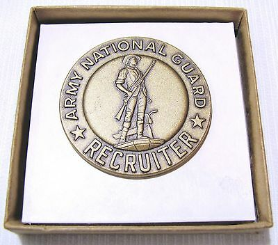 Army National Guard--Recruiter Badge--Original Box--2 Inches In Diameter--Brass